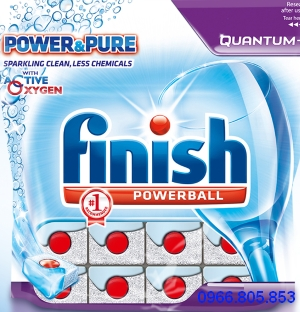 viên rửa bát finish quantum power và pure sparkling alean less chemicals
