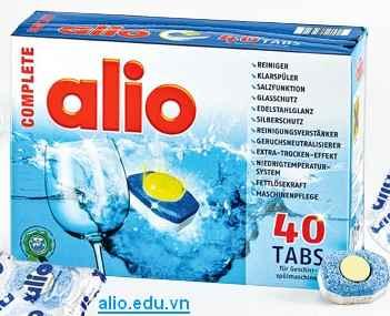 viên rửa bát alio 40 tabs chuyên dùng cho máy rửa bát, viên alio complete